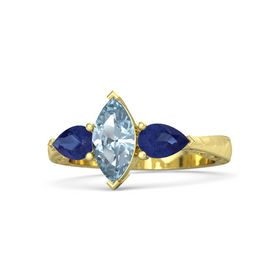 Marquise Aquamarine 18K Yellow Gold Ring with Blue Sapphire
