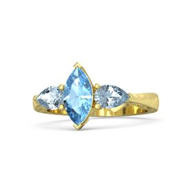 Marquise Blue Topaz 18K Yellow Gold Ring with Aquamarine