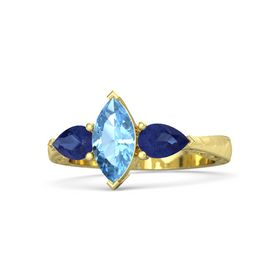 Marquise Blue Topaz 18K Yellow Gold Ring with Blue Sapphire