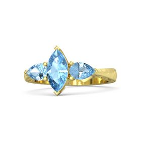 Marquise Blue Topaz 18K Yellow Gold Ring with Blue Topaz