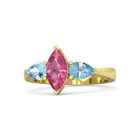 Marquise Pink Tourmaline 18K Yellow Gold Ring with Blue Topaz