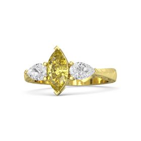 Marquise Yellow Sapphire 18K Yellow Gold Ring with White Sapphire