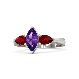 Marquise Amethyst Palladium Ring with Ruby