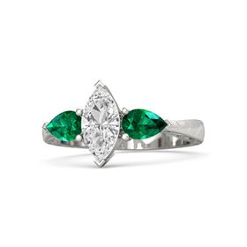 Marquise White Sapphire Palladium Ring with Emerald
