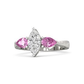 Marquise White Sapphire Palladium Ring with Pink Sapphire