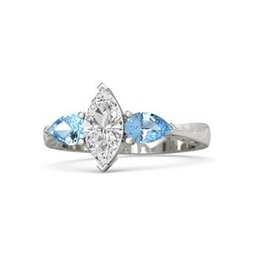 Marquise White Sapphire Palladium Ring with Blue Topaz