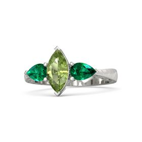 Marquise Peridot Palladium Ring with Emerald