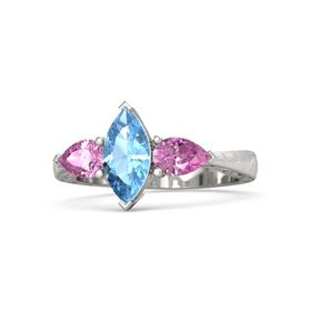 Marquise Blue Topaz Palladium Ring with Pink Sapphire