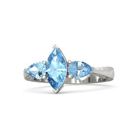 Marquise Blue Topaz Palladium Ring with Blue Topaz