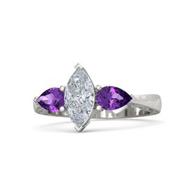 Marquise Diamond Platinum Ring with Amethyst