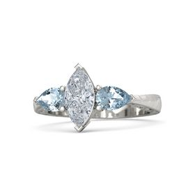 Marquise Diamond Platinum Ring with Aquamarine
