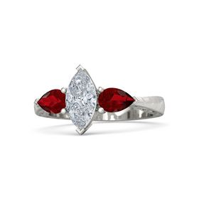 Marquise Diamond Platinum Ring with Ruby