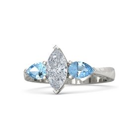 Marquise Diamond Platinum Ring with Blue Topaz