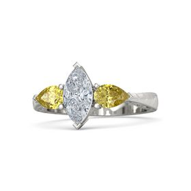 Marquise Diamond Platinum Ring with Yellow Sapphire