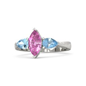 Marquise Pink Sapphire Platinum Ring with Blue Topaz