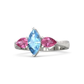 Marquise Blue Topaz Platinum Ring with Pink Tourmaline
