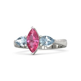 Marquise Pink Tourmaline Platinum Ring with Aquamarine