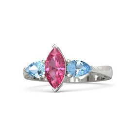 Marquise Pink Tourmaline Platinum Ring with Blue Topaz