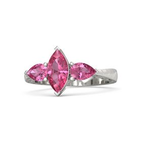 Marquise Pink Tourmaline Platinum Ring with Pink Tourmaline