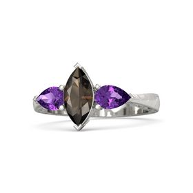 Marquise Smoky Quartz Platinum Ring with Amethyst