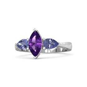 Marquise Amethyst Sterling Silver Ring with Tanzanite