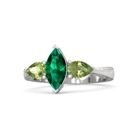 Marquise Emerald Sterling Silver Ring with Peridot