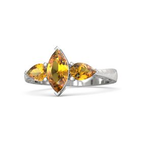 Marquise Citrine Sterling Silver Ring with Citrine
