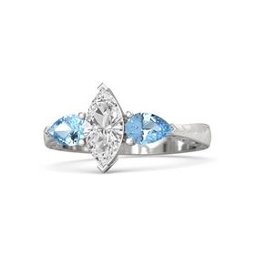 Marquise White Sapphire Sterling Silver Ring with Blue Topaz