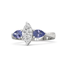 Marquise White Sapphire Sterling Silver Ring with Tanzanite