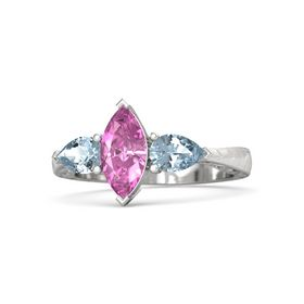 Marquise Pink Sapphire Sterling Silver Ring with Aquamarine
