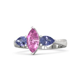 Marquise Pink Sapphire Sterling Silver Ring with Tanzanite