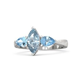 Marquise Aquamarine Sterling Silver Ring with Blue Topaz