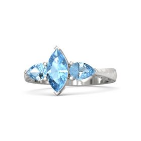 Marquise Blue Topaz Sterling Silver Ring with Blue Topaz
