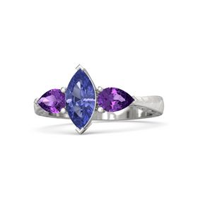 Marquise Tanzanite Sterling Silver Ring with Amethyst