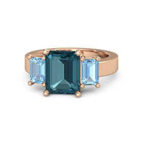 Emerald London Blue Topaz 14K Rose Gold Ring with Blue Topaz