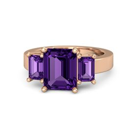 Emerald Amethyst 14K Rose Gold Ring with Amethyst