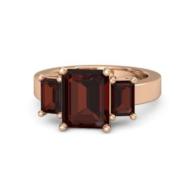 Emerald Red Garnet 14K Rose Gold Ring with Red Garnet