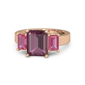 Emerald-Cut Rhodolite Garnet 14K Rose Gold Ring with Pink Tourmaline