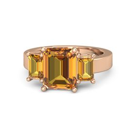 Emerald-Cut Citrine 14K Rose Gold Ring with Citrine