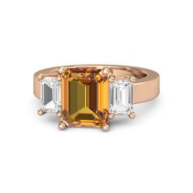 Emerald-Cut Citrine 14K Rose Gold Ring with White Sapphire