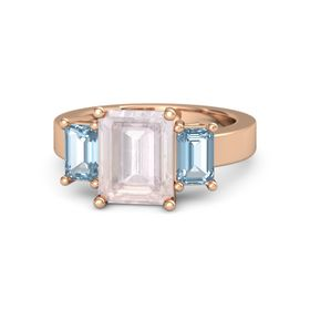 Emerald-Cut Rose Quartz 14K Rose Gold Ring with Aquamarine
