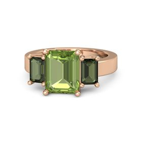 Emerald-Cut Peridot 14K Rose Gold Ring with Green Tourmaline