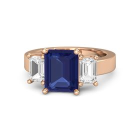 Emerald-Cut Sapphire 14K Rose Gold Ring with White Sapphire