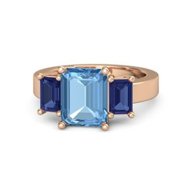 Emerald Blue Topaz 14K Rose Gold Ring with Blue Sapphire