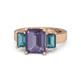 Emerald Iolite 14K Rose Gold Ring with London Blue Topaz