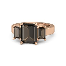 Emerald-Cut Smoky Quartz 14K Rose Gold Ring with Smoky Quartz