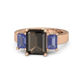 Emerald-Cut Smoky Quartz 14K Rose Gold Ring with Tanzanite