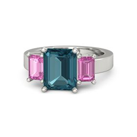 Emerald London Blue Topaz 14K White Gold Ring with Pink Sapphire