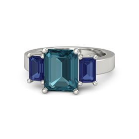 Emerald-Cut London Blue Topaz 14K White Gold Ring with Sapphire