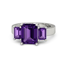 Emerald Amethyst 14K White Gold Ring with Amethyst